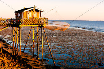 fishing house with fishing net, Gironde Department, Aquitaine, F