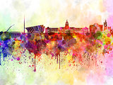 Dublin skyline in watercolor background