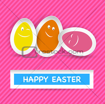 Smiley Easter Eggs and Happy Easter greeting on stripes
