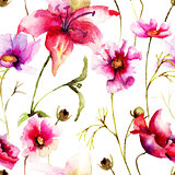 Seamless wallpaper with Stylized flower