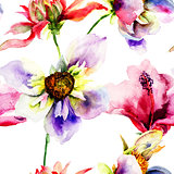 Seamless wallpapers with Stylized flowers