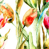 Seamless wallpapers with Tulips flowers