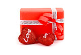 Red romantic gift box with hearts