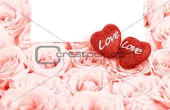Beautiful pink roses with gift card & hearts