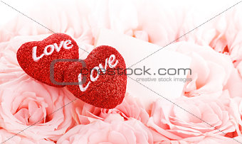 Beautiful roses with gift card & hearts