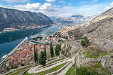 Kotor old town from Lovcen mountain. Montenegro.