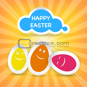 Smiley Easter Eggs and Happy Easter greeting on a cloud