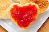 heart-shaped toasts and jam