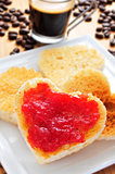heart-shaped toasts with jam