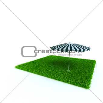 beach umbrella on a lawn from a green bright grass on a white background