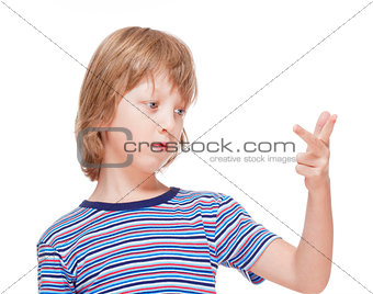 Boy Counting on Fingers of his Hand