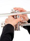 Closeup of Trumpet Player Playing