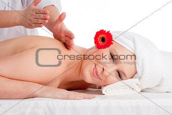 Beautiful Woman Enjoying Back Massage at Beauty Spa