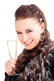 Young Woman Holding a Glass of Champagne, Smiling