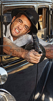 Angry Gangster Shooting Gun
