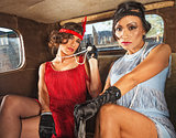 Charming Retro Ladies in Car