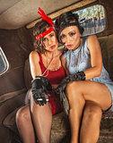 Smoking Flapper Women in Car