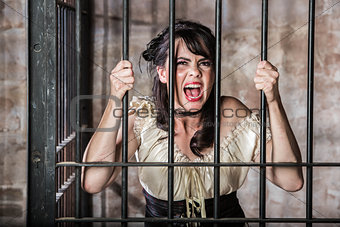 Portrait of Screaming Female Prisoner