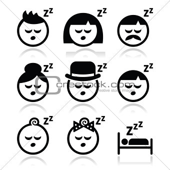 Sleeping, dreaming people faces icons set