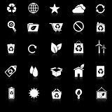Ecology icons with reflect on black background