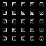Square face icons with reflect on black background
