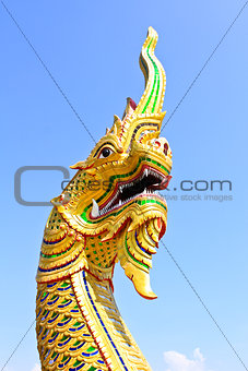 King of Naga in Temple of Thailand.
