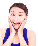 beautiful asian woman extreme happily expression