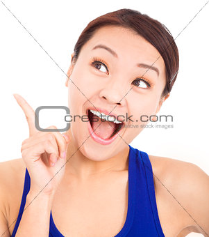 Beautiful business woman with idea pose hand