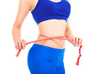 sporty woman shapes and measure on white background