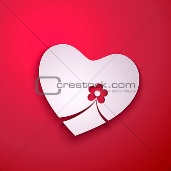 Abstract paper heart with flower