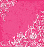 Pink background with white flowers