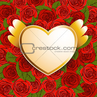 Background with red roses and heart