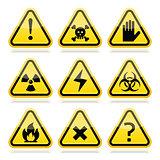 Danger, risk, warning modern traingle signs set