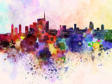 Milan skyline in watercolor background
