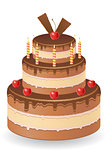 chocolate cake with cherries and burning candles vector illustra