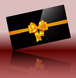 Luxury greeting card with golden bow on glossy black