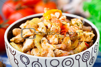 Vegetable ragout with chicken breasts