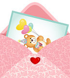 Teddy Bear Postcard inside Envelope