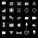 Application icons with reflect on black background