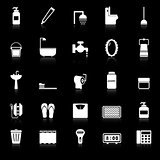 Bathroom icons with reflect on black background