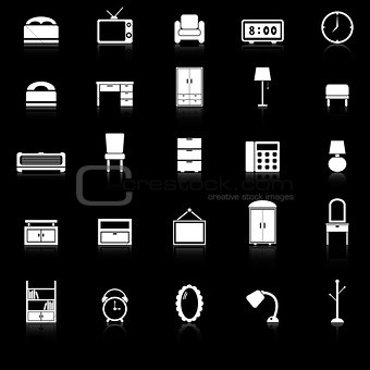Bedroom icons with reflect on black background
