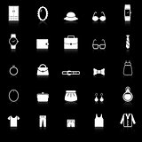 Dressing icons with reflect on black background