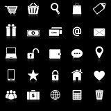 Ecommerce icons with reflect on black background