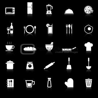 Kitchen icons with reflect on black background