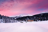 Beautiful Sunrise at Ski Resort of Madonna di Campiglio, Italian