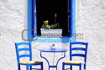 Blue cafe in Greece