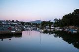 Fishing village harbour tide sunset landscape