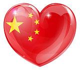 China flag love heart