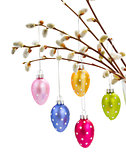 Hanging multicolored easter eggs