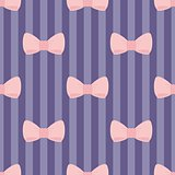 Seamless vector pattern with pastel pink bows on a navy blue strips background.